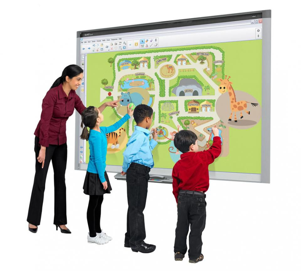 classroom with smartboard clipart - 1000×780